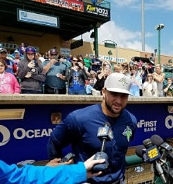 New York Met's Outfield prospect Tim Tebow speaks to the media at First Energy Park in Lakewood, NJ. (Vin Ebenau, Townsquare Media)