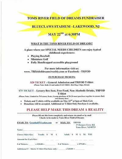 Toms River Field of Dreams fundraiser form