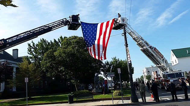 American flag flies over Toms River's 9/11 ceremony